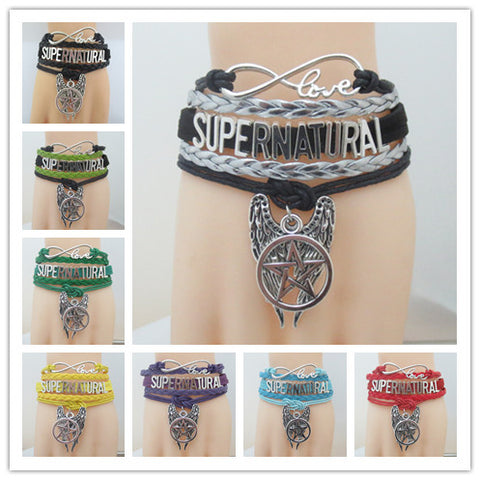 Picture of the 8 colors of the Supernatural bracelet.