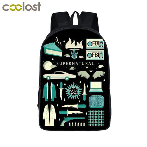 Supernatural backpack - Supernatural Symbols