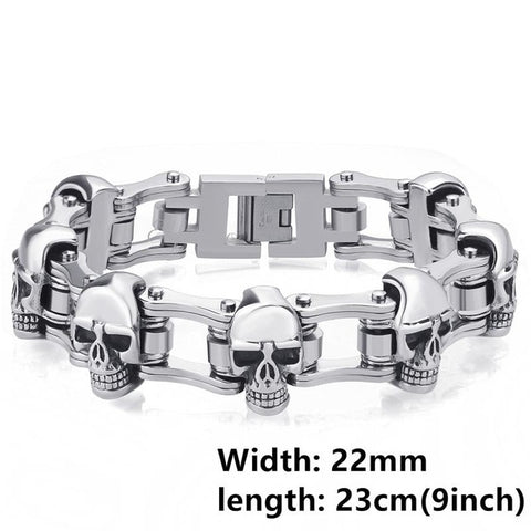 Picture of Motorcycle Chain and Skeleton bracelet.