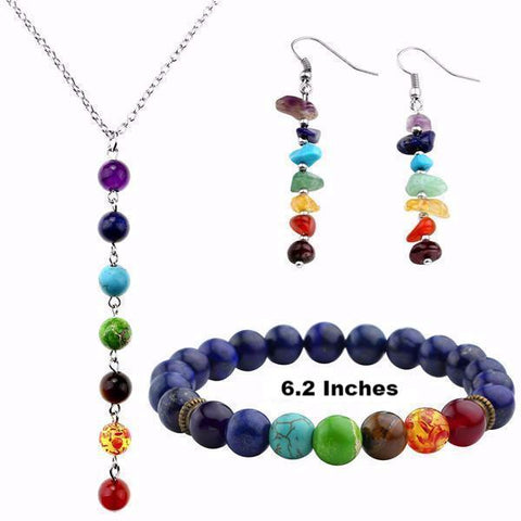 Picture of Style 5 chakra jewelry set.