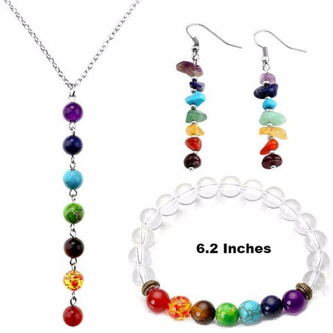 Picture of Style 8 chakra jewelry set.