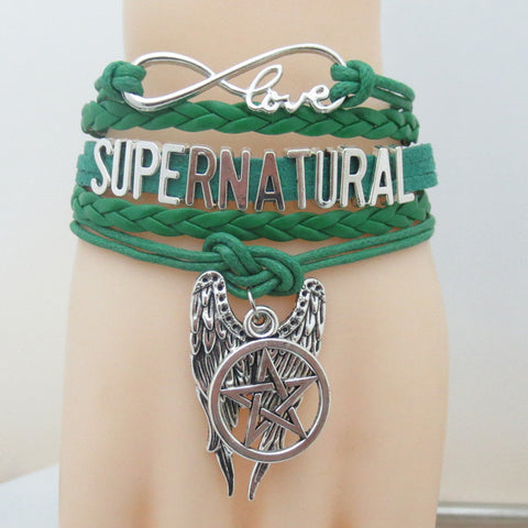 Picture of the green Supernatural bracelet.