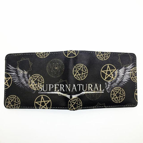 Supernatural wallet with symbols spread open.