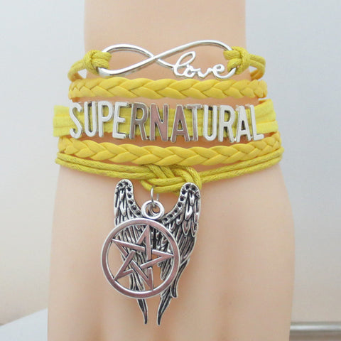 Picture of the yellow Supernatural bracelet.