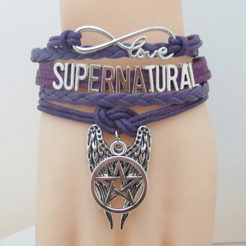 Picture of the purple Supernatural bracelet.
