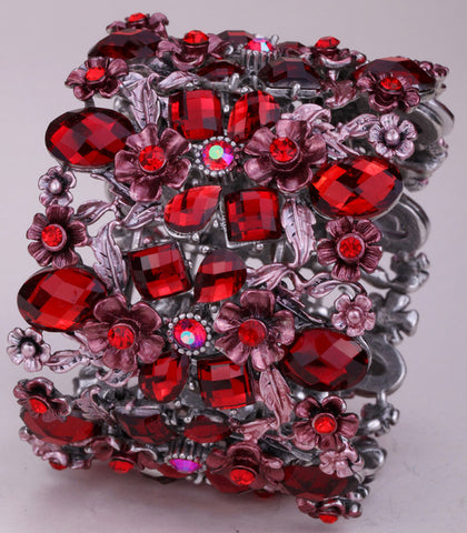 Picture of red stretch bracelet close-up.