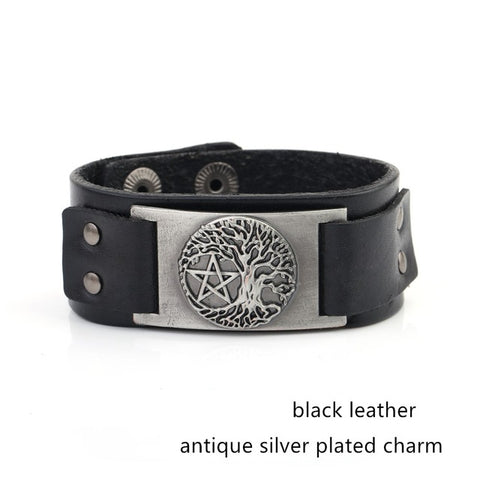 Picture of silver Tree Of Life and Pentagram bracelet.