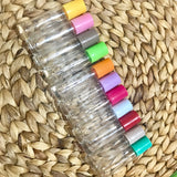 5 Pack of clear bottles with coloured lids