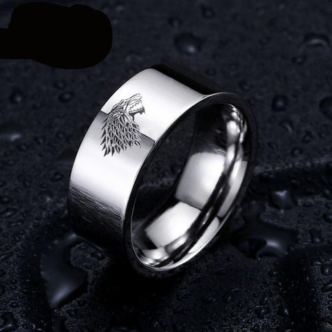 Beautiful Titanium Steel Game of Thrones House Stark of Winter Fell Ring of Ice Wolf Men's Ring