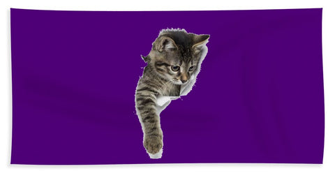 Naughty Cat Right Paw Sticking Out 3D Print Beach Towel