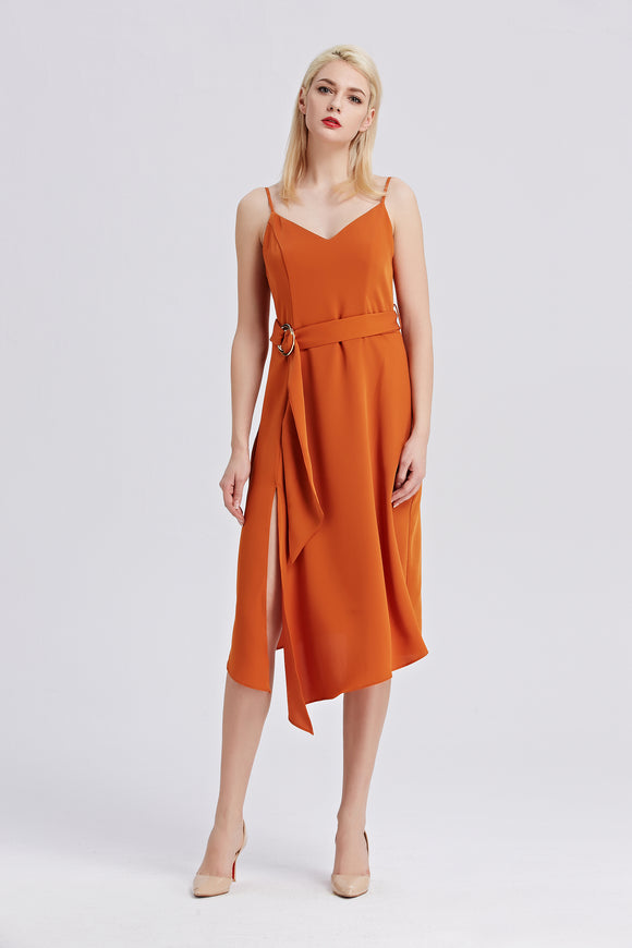 Rust-Strappy-Sleeveless-Midi-Dress-Main