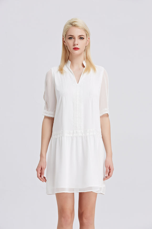 Classic-Chiffon-Shift-Dress-WHITE-Front