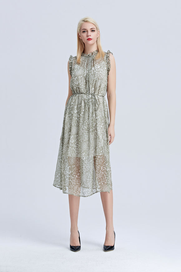 Helena-Floral-Midi-Dress-Khaki-Main