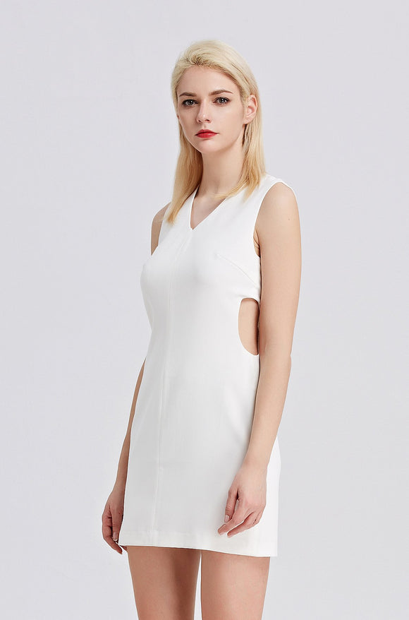 Cut-out-Sheath-Dress-White-Detail