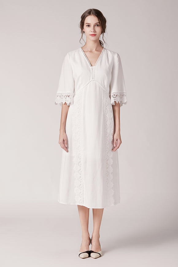 Elanor-Embroidery-Midi-Dress-White-Main