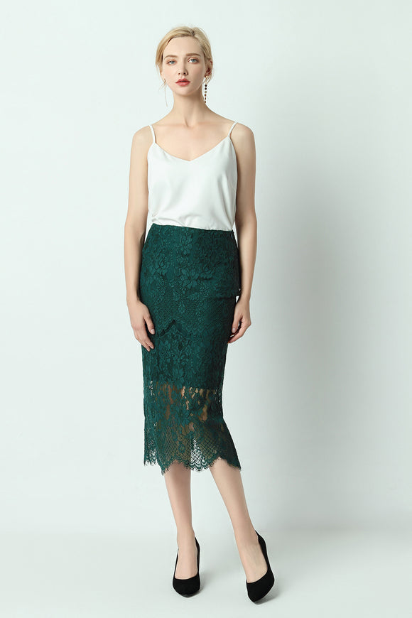 Alaya-lace-pencil-skirt-green-Main