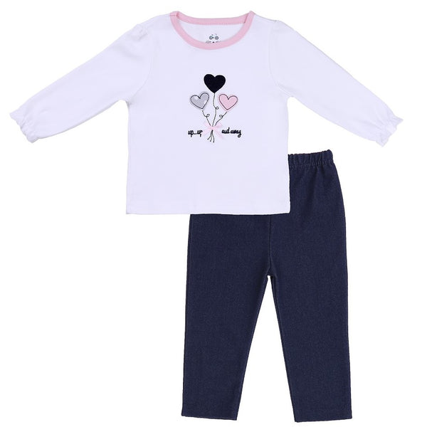 Baby Outfit with White Tee and Navy Pants