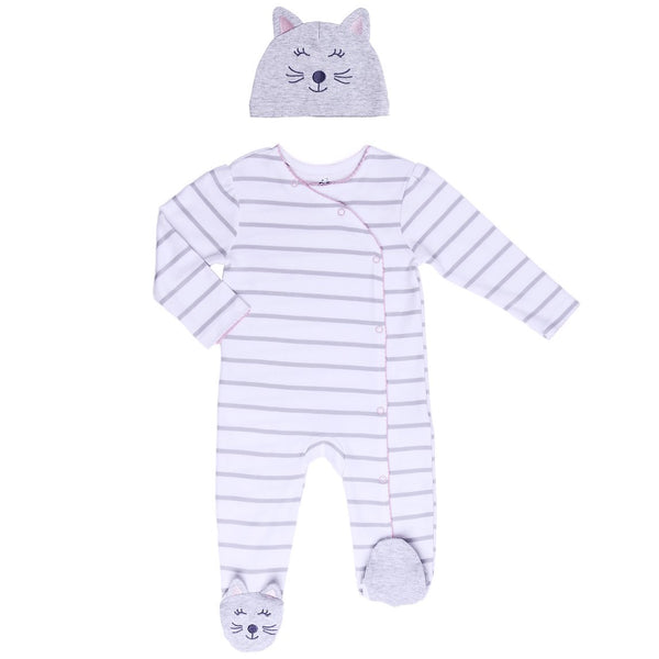 Striped Baby Footie with Kitty Hat