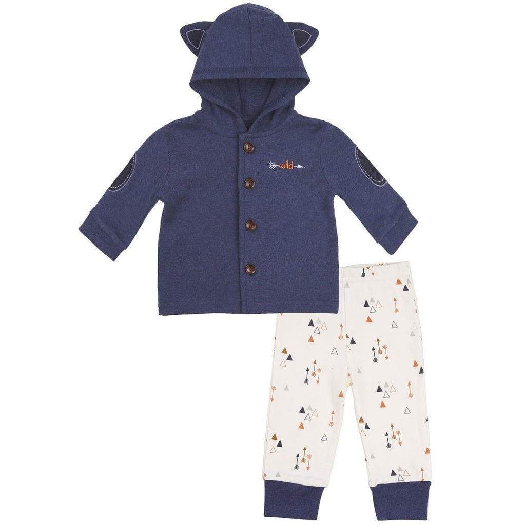 Navy Baby Hoodie with 3D Fox Ears and Arrow Print Pants