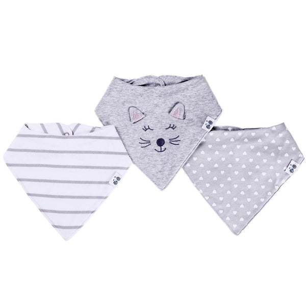 Bandana Bibs Set (Gray and White Stripes, Kitty with 3d ears, and polka heart