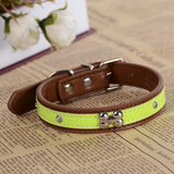Personalized Crystal Studded Reflective Dog Collar Pu Leather Collars For Dogs Necklace Pet Products For Animals | calizota