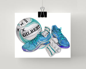 Netball painting print in blue