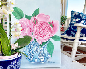 Original Oil painting peonies in blue and white vase