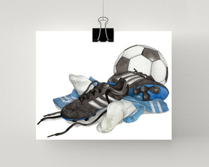 Soccer artwork print with blue socks, shoes and ball.