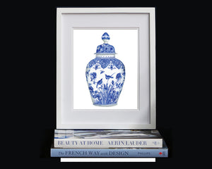 Print of blue and white bird print baluster vase and cover, late 17th century