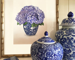 Original Watercolour Painting Blue and White vase with gorgeous hydrangeas