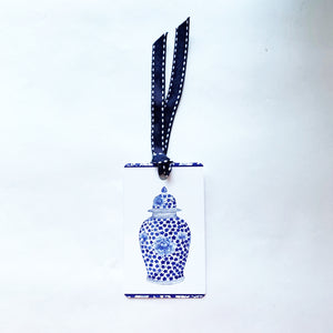 Blue and white ming jar gift tag with ribbon