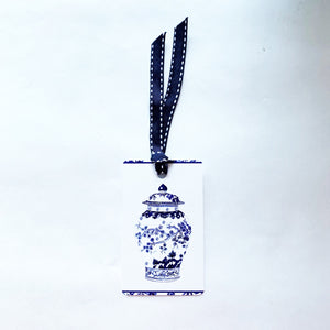 Blue and white cherry ginger jar gift tag with ribbon