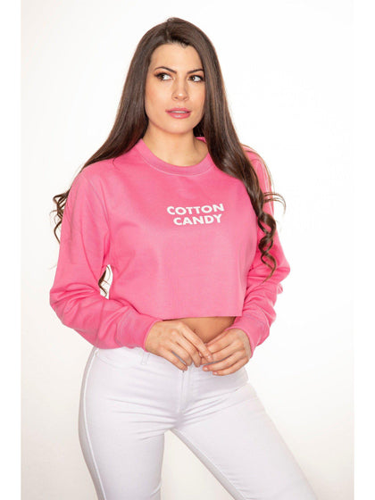 COTTON CANDY cropped sweatshirt in pink