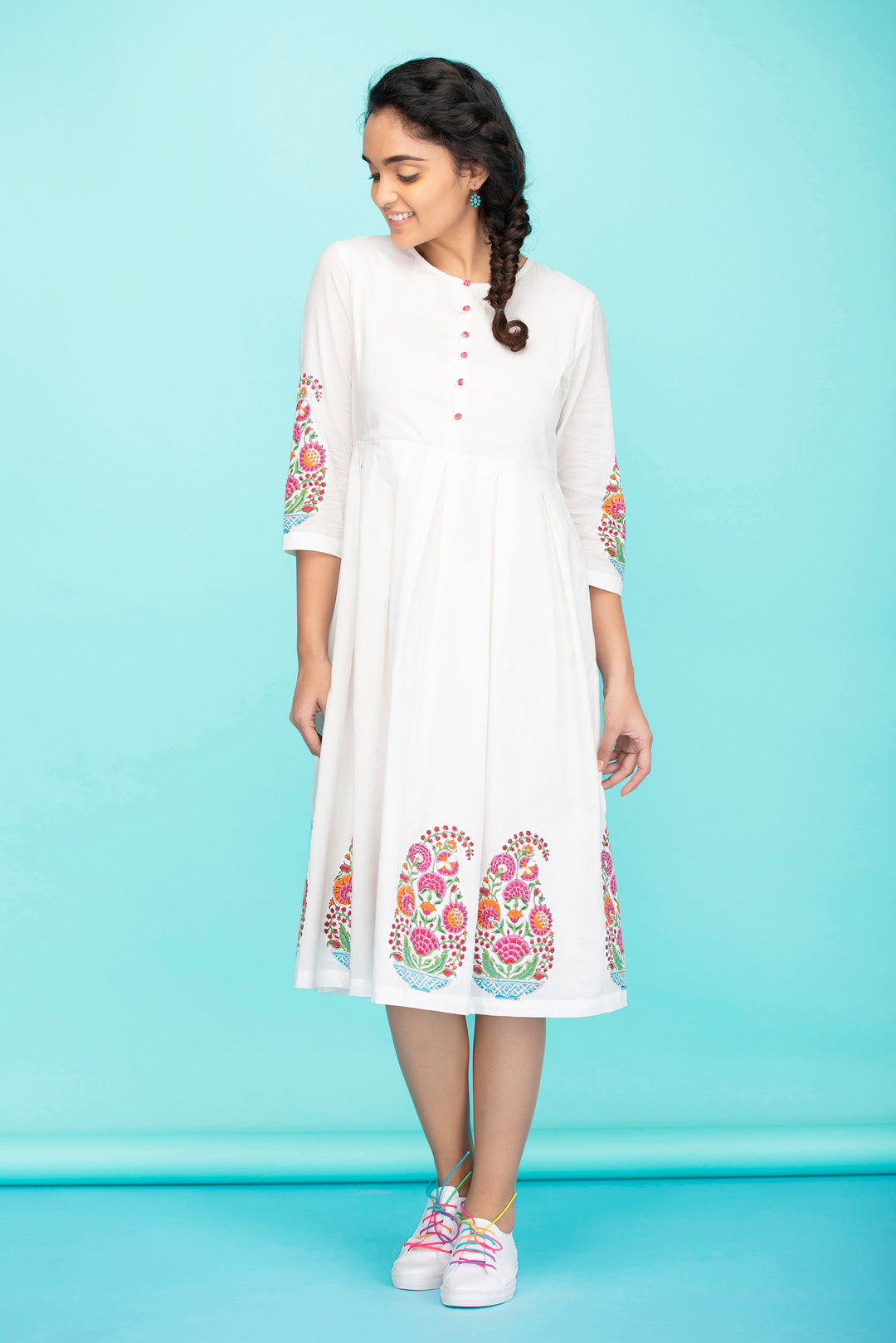 Pink Paisley Applique Dress