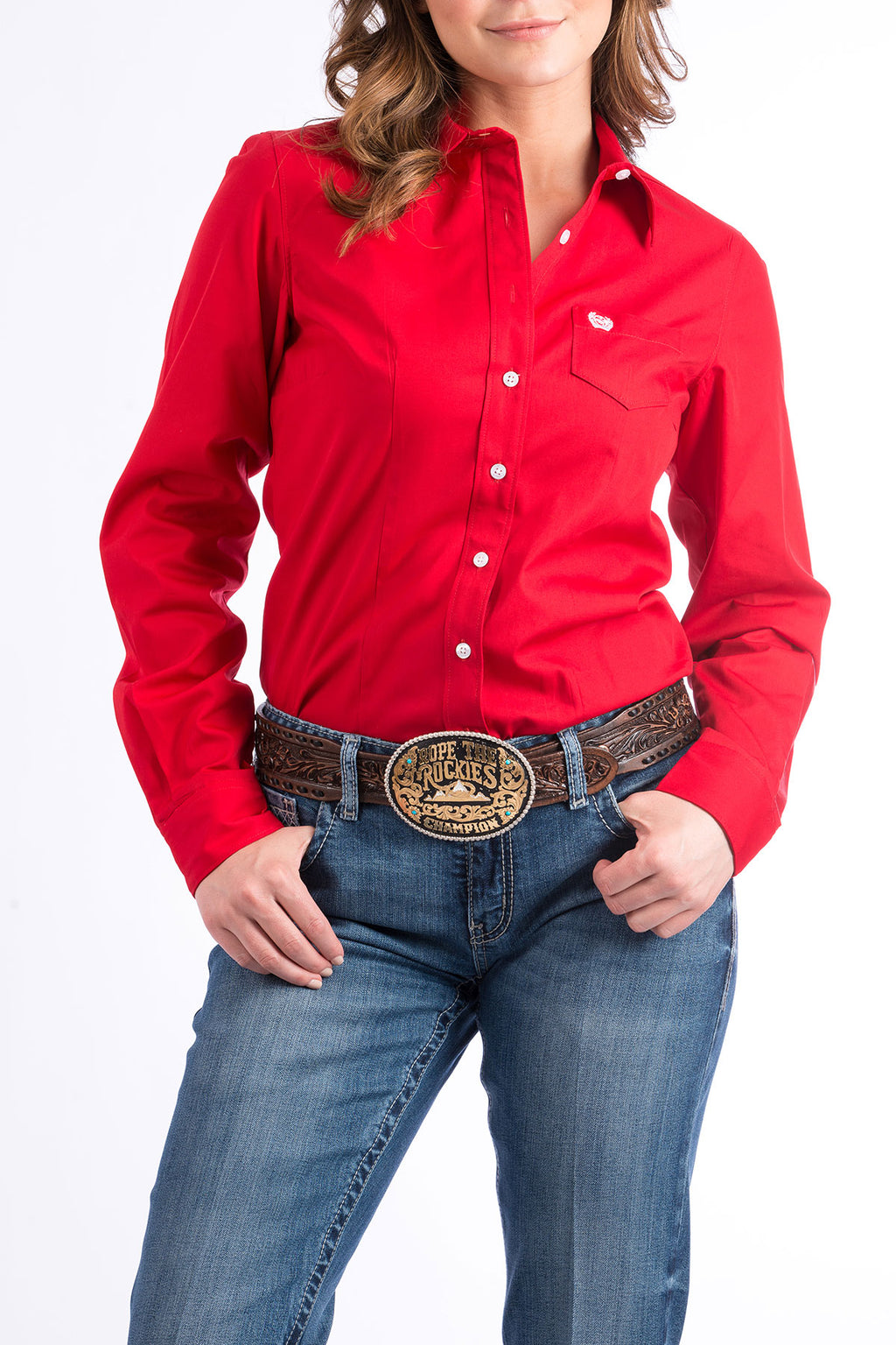 CINCH Women's Solid Red Button-Down Western Shirt