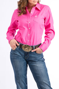 CINCH Women's Solid Pink Button-Down Western Shirt