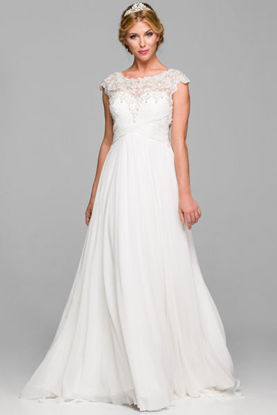 The Anna Wedding Dress with Lace Back in Off White