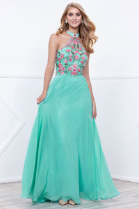 Floral Halter Neck Chiffon Floor Length Formal Gown Mint Green