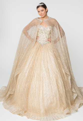 Jewel and Glitter Mesh Cloaked Ball Gown