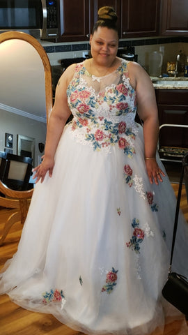 The Aster Wedding Ball Gown with Floral Applique