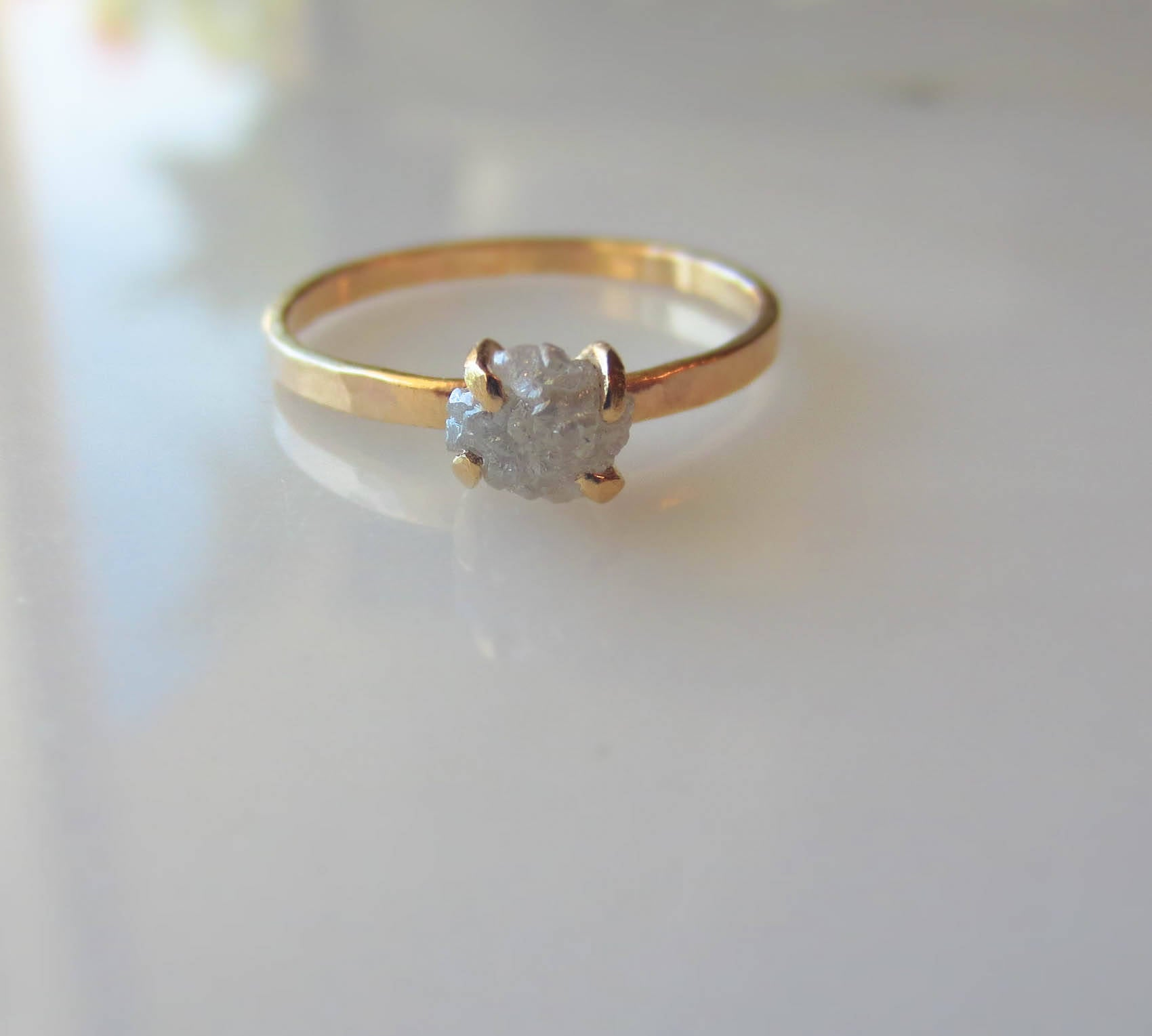Raw Diamond Engagement Ring | Handmade 14k Gold Engagement Ring