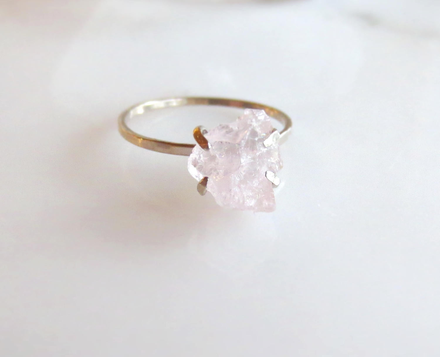 Raw Rose Quartz Ring Raw | Boho Bridal Alternative Engagement Ring