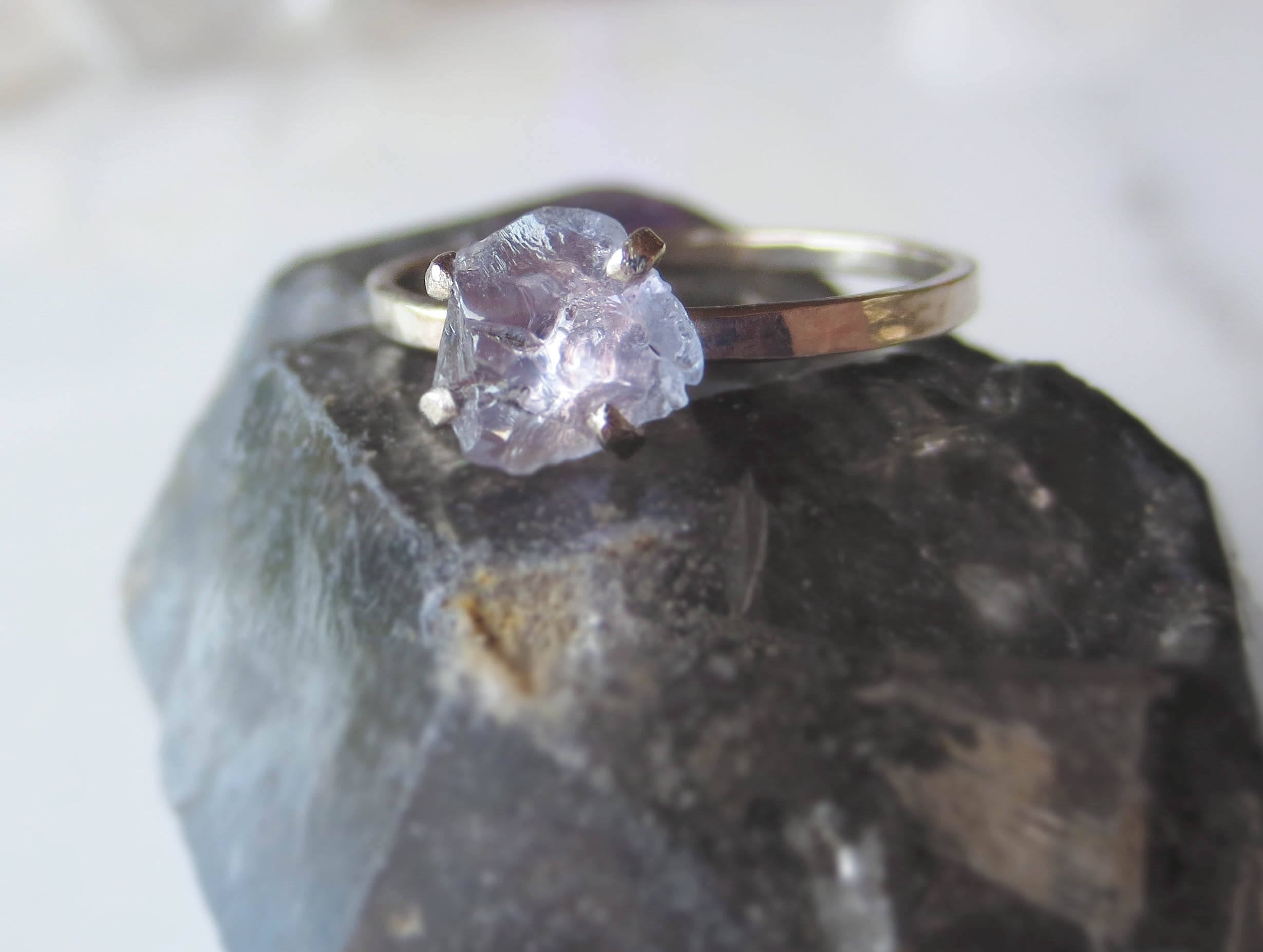 Raw Purple Sapphire Ring with 2mm White Gold Band | Custom for Alisha