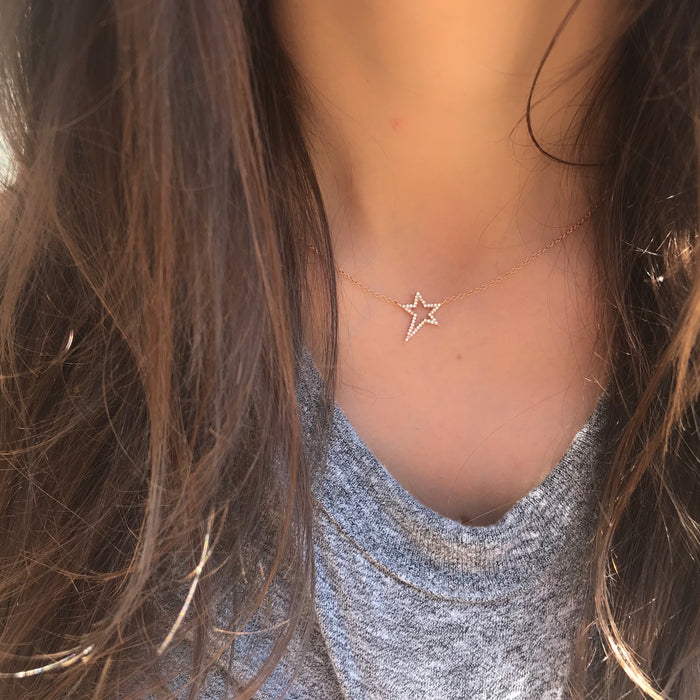 Small Diamond Open Star Necklace