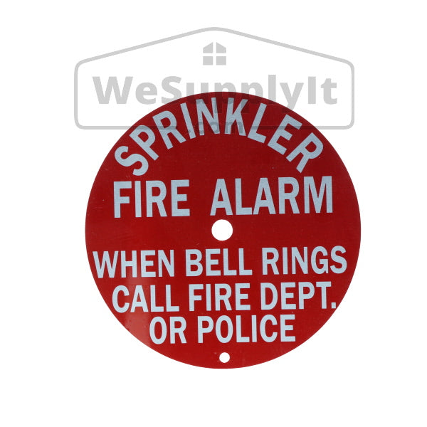 "Sprinkler Fire Alarm Bell Sign, Call Fire Dept., Aluminum, 6"" Round"