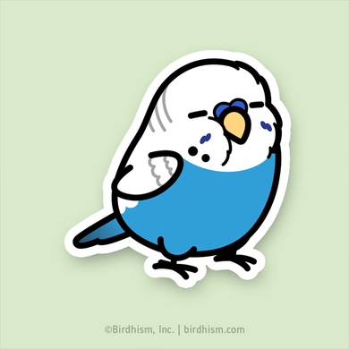 Chubby Blue English Budgie Stickers