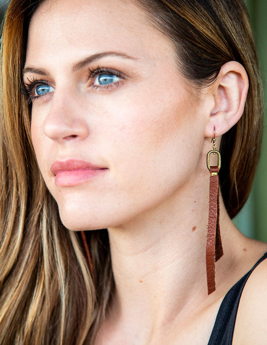 OVAL & LEATHER EARRINGS - HENRI LOU DESIGNS