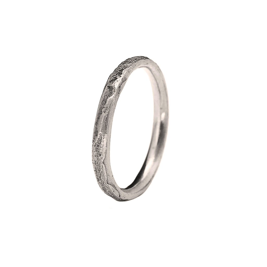 2mm Silk Textured Ring, 14k Palladium White Gold