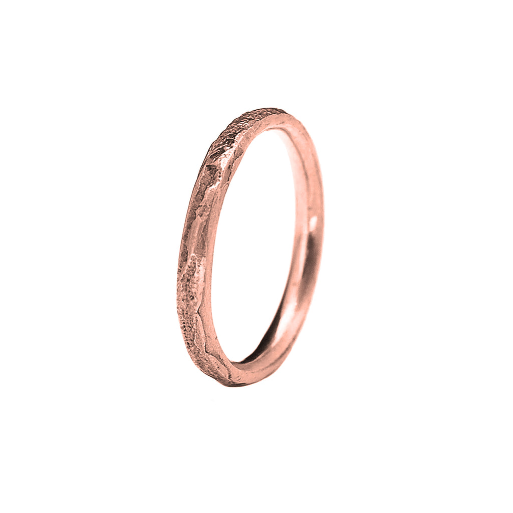 2mm Silk Textured Ring, 14k Rose Gold