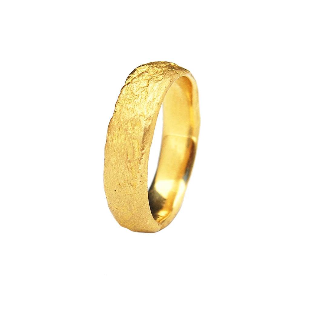 5mm Rounded Silk Textured Ring, 18k Yellow Gold